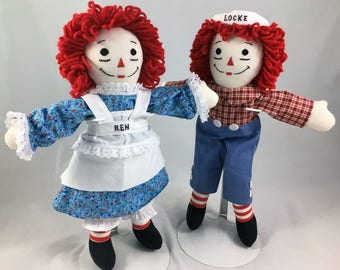"""15"""" Raggedy Ann Doll OR Raggedy Andy Doll - Handmade, Made to Order, Free Personalization, 125+ outfit fabrics to choose from!"""