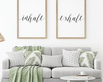 Inhale Exhale Home Decor Signs, Minimalist Art Large, Bedroom Wall Art Prints, Black and White Prints, Digital Prints Quotes, Hadley Designs