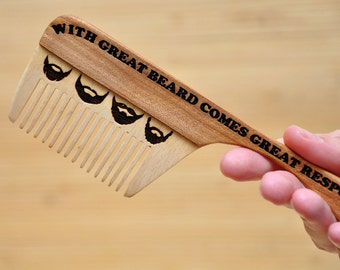 Personalized Wooden Beard Comb, Gift for dad, Gift for him, wooden hair comb, hair com, beard comb, moustache comb, for men, for him.
