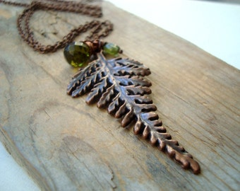 Copper Fern Necklace Olive Green Crystal Peridot August Woodland Statement Necklace Layering Necklace Gifts Under 40 Nature Inspired