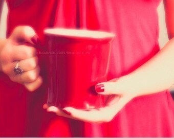 food photography, red coffee mug photo, Good Morning Darling, romantic Kitchen decor, love cherry ruby portrait photograph, Valentines