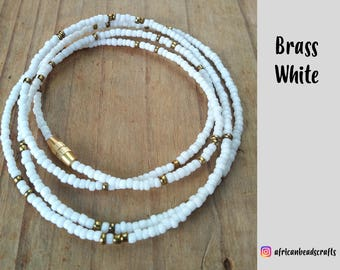White Waist Beads - African jewelry - Belly Chain - Body Jewelry - Belly Beads - African Waist Beads