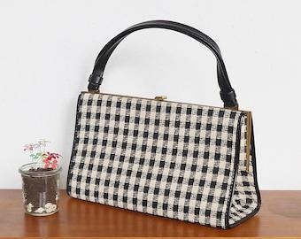 Vintage handbag, shoulder bag, pocket, mid century, 60s, elegant and practical, 5 compartments, black and white