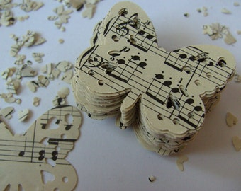 100,Paper butterflies, confetti, scrap booking, paper craft, card making, tags, Vintage music sheets, by DoodleDee2