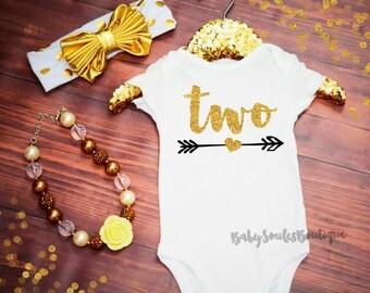 Second Birthday Shirt Second Birthday Shirt Baby Girl Birthday Two Girl Birthday Gold Two Shirt Girl Second Birthday Gold Glitter Shirt 515