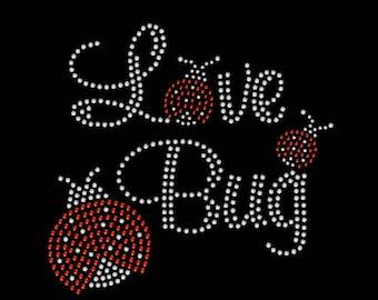 Valentine's Love Bug Heart Hearts Rhinestone Iron On Transfer Hotfix Bling