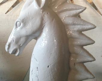 Horse Sculpture Mid Century Italian Art Pottery Horse Stallion Sculpture White Glazed Terracotta Horse Head Sculpture 60s Eames Bitossi Era