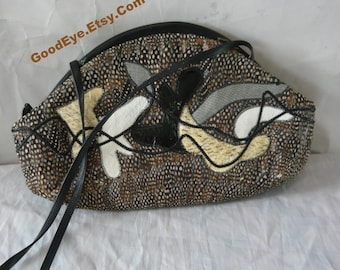 Vintage 80s FEATHER Covered  Purse /  Cross body Large Shoulder Bag /  Black Leather Brown Snakeskin Reptile