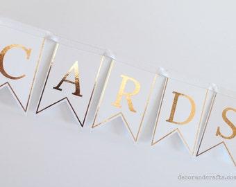 Wedding Cards Sign, Wedding Card Banner, Gold Wedding Sign, Wedding Banner, Wedding Bunting, Cards and Gifts Sign, Shower Cards Banner, Rose