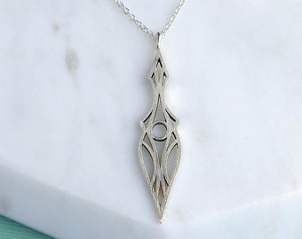 Elf Deco Dagger Necklace, Sterling Silver, Art Deco Inspired, Elvish Inspired, Art Nouveau Inspired Pendant