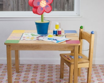 "Splat Mat/Tablecloth ""Pink Americana Cell Structure"" - Laminated Cotton BPA  & PVC Free - Choose Your Size below!"
