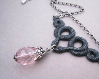 Double Snake Necklace Pale Pink Giant Drop Antiqued Silver Plated Reptile Twins Mythic Beasts Victorian Gothic Jewelry Pagan Goddess Black