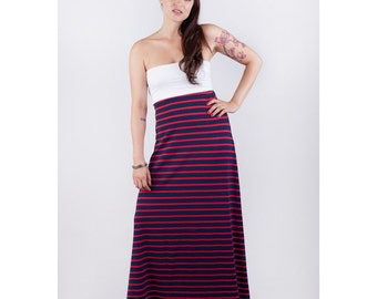 Strapless Organic Cotton Red and Blue Stripe Maxi Dress // Made in USA