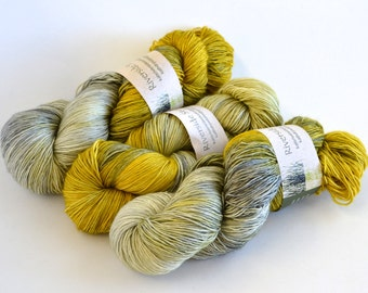 Hand dyed yarn pick your base - Grellow - sw merino cashmere nylon fingering dk worsted