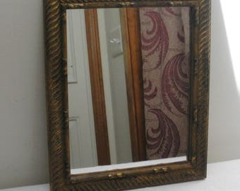 Vintage Gold & Black Burnished Wall Mirror - Small Accent Mirror