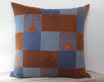 "Recycled textiles slipcover for 18"" cushion -- copper brown & denim blue"