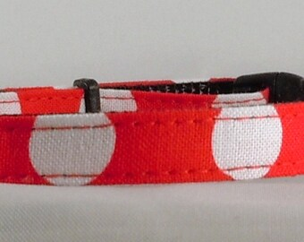 Cat Collar or Kitten Collar - Red and White Polka Dots
