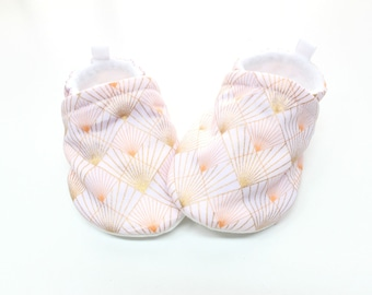 Prism Baby shoes, Pre walker, soft sole, crib shoes, baby booties, baby moccs, baby girl shoes, peach pink, metallic gold