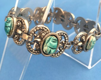 Vintage Egyptian Revival bracelet with scarab beetles
