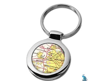 Map Keychain Falls Church Virginia VA Key Ring Fob
