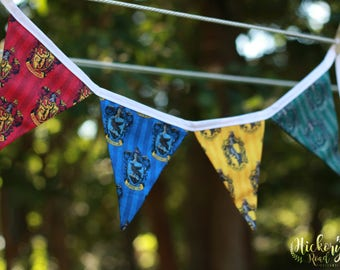 HOUSES of HOGWARTS, bunting, pennant banner, flags, harry potter, gryffindor, hufflepuff, ravenclaw, slytherin, party decor, dorm decor