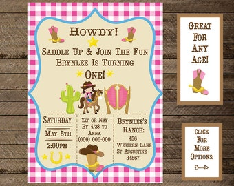 cowgirl invite, cowgirl invitation, western invite, western theme party, cowgirl theme party, ranch, horses, first birthday, second, third