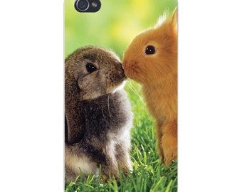 Apple iPhone Custom Case White Plastic Snap on - Cute Baby Bunny Rabbits Kissing Smooching 4858
