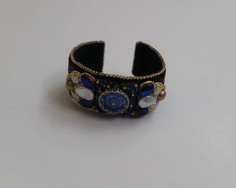 Black Brocade Ribbon Beaded Cuff Bracelet