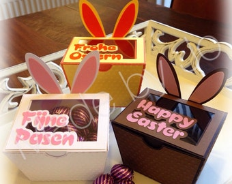 Bunny boxes. Silhouette Studio file. Digital cutting file.