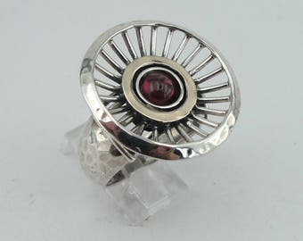 Round Garnet Silver Ring , 925 sterling Silver and 9k yellow gold ring, Red Garnet ring, size 8, Gift, Birthday, Free International (ms 1319