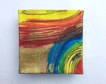Rainbow box 2   Yellow Gold Red Original Wall Art Canvas