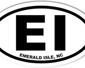 EI Emerald Isle North Carolina NC   Oval   Decal   Sticker   Vinyl