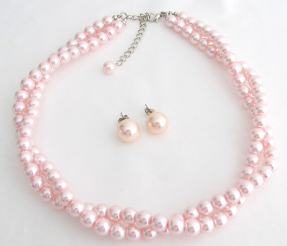 Pink Pearl Necklace Stud Earrings Bridesmaid Pink Pearl Twisted Necklace Stud Earrings Beach Jewelry Free Shipping In USA