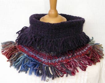 knit neck warmer with fringes scarf cowl tube scarf  tube cowl in eggplant, blue and red PiaBarileAccessories