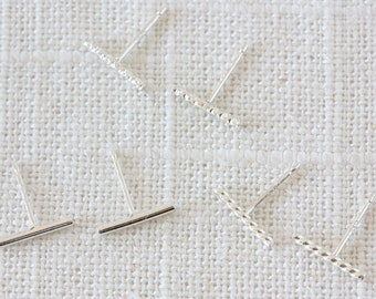 Sterling Silver Minimalist Bar Studs - Plain, Twisted, or Faceted