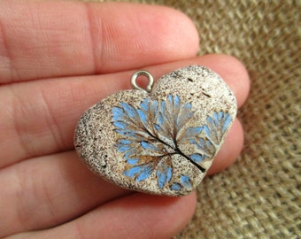 Rustic Bohemian Blue Leaf Imprint Small Heart Pendant