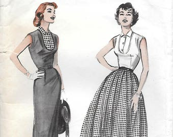 Size 14-Butterick 6799 1950s Sleeveless Bib Blouse with Fitted or Pleated Skirt Vintage Sewing Pattern Bust 32 Wiggle Skirt
