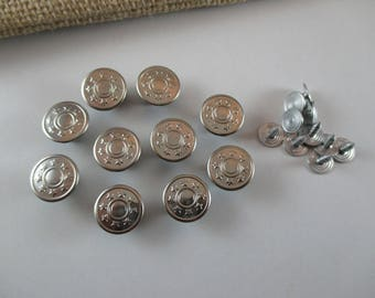 10 buttons, Jeans, round, silver or bronze Metal buttons, small gold special plating, 14 mm.