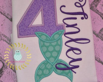 Mermaid 4th - fourth - Birthday with Number- 1, 2, 3, 4, 5, or 6 Birthday Shirt or Bodysuit Personalized appliqué