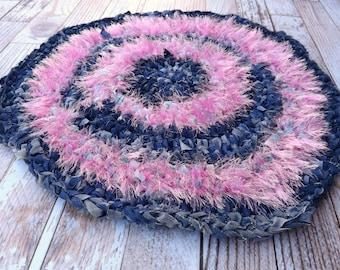 Katze-Teppich - Haustier Teppich - Herd Teppich - Lappen Teppich - rosa Teppich - kneten Teppich - pelzigen Teppich - Akzent - Welpen-Teppich - Teppich Upcycled Teppich - Blau Jean-Teppich