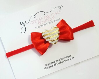 Red satin hairbow , red headband-  valentines day headband, girl headband, newborn hair bow, baby headband, toddler headband, gold heart,
