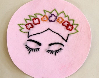 Hand Embroidered Flower Girl Iron on Patch