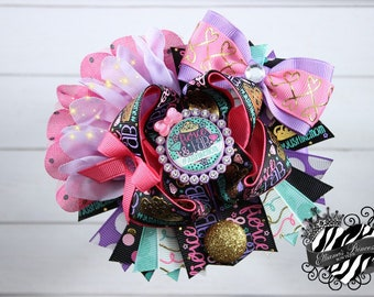 Glam Hair Bow - One of a Kind Bow - Over the Top Bow - Layered Boutique Bow - Toddler Hair Bows - Girls Hair Bows - 6 Inch Hair Bow