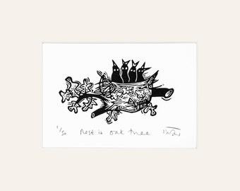 Nest in an Oak Tree - lino print, bird, lino cut, lino print, handmade, printmaking, nature, wildlife, art, natural world,