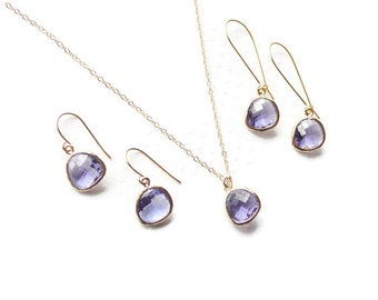 Purple bridesmaid jewelry  Purple jewelry Purple earrings  Purple necklace  Purple bridesmaid gift  Jewelry set Bridal jewelry set Amethyst
