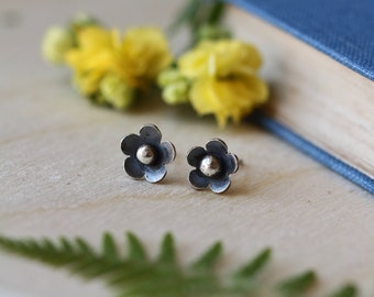 Sterling Silver Flower Studs.  Floral Jewelry. Tiny Studs. Gift for Her. Silver Studs. Delicate. Everyday wear. Made in Scotland.