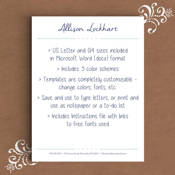Letterhead Template For Word | DIY Custom Letterhead | Personalized  Letterhead, Business Letterhead | DIY Stationary, Custom Stationary  Free Stationery Templates For Microsoft Word