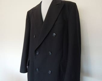 Vtg Wool Stripe Woven Dark Navy Blue Double Breasted Overcoat Made in Canada Nordstrom Men's Size 40R 42R 90's