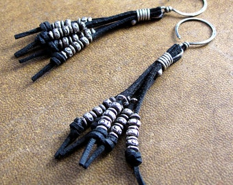 Leather and Fine Silver Earrings