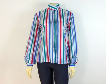 Vintage Blouse| Vintage Shirt| Vintage Top| Lucia Striped Blouse| Teal Lavender Beige Burgundy White Stripes| Modern Size Small to Medium